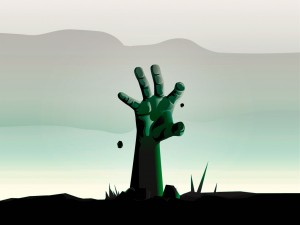Black Hand Coming Out from the Ground Vector